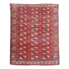 Late 19th Century Red Kizyl Ayak Main Carpet with Yellow and Green Hues
