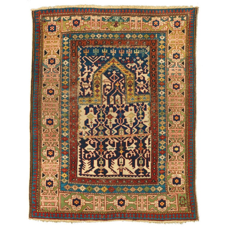 Prayer Rug Types: Mid 19th Century Caucasian Konagkend Prayer Rug With