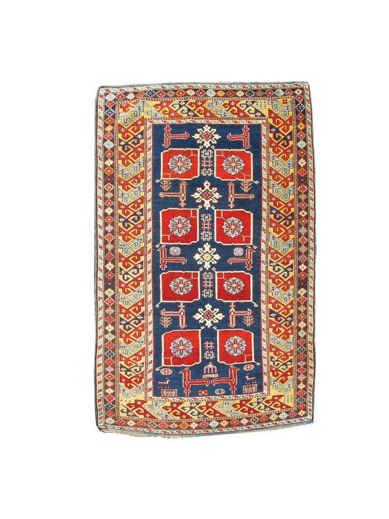 Late 19th Century Ruby-Red and Sea-Green Caucasian Karagashli Kuba Rug For Sale