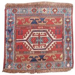 Late 19th Century Red Caucasian Soumac Bagface Rug