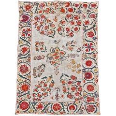 19th Century Floral White Nurata Suzani Textile Rug