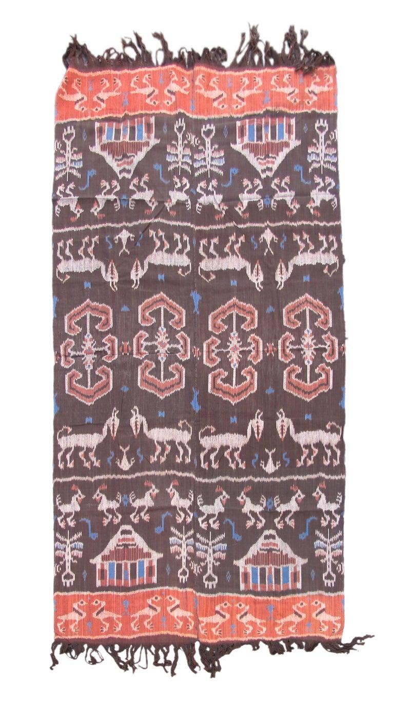 20th Century Vintage Geometric Ikat Textile Rug For Sale