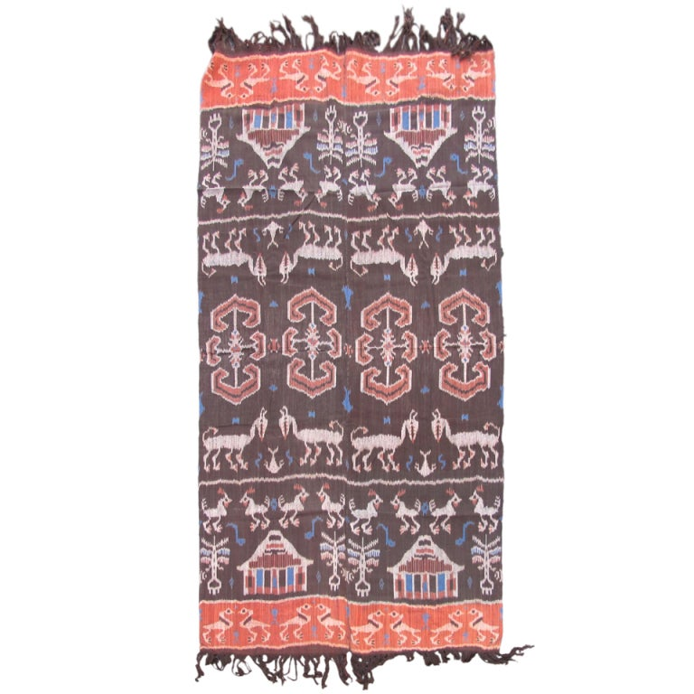 20th Century Vintage Geometric Ikat Textile Rug