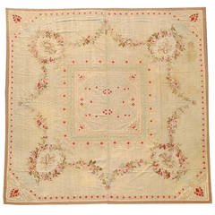 Late 19th Century Tan Aubusson Rug with Red Dots