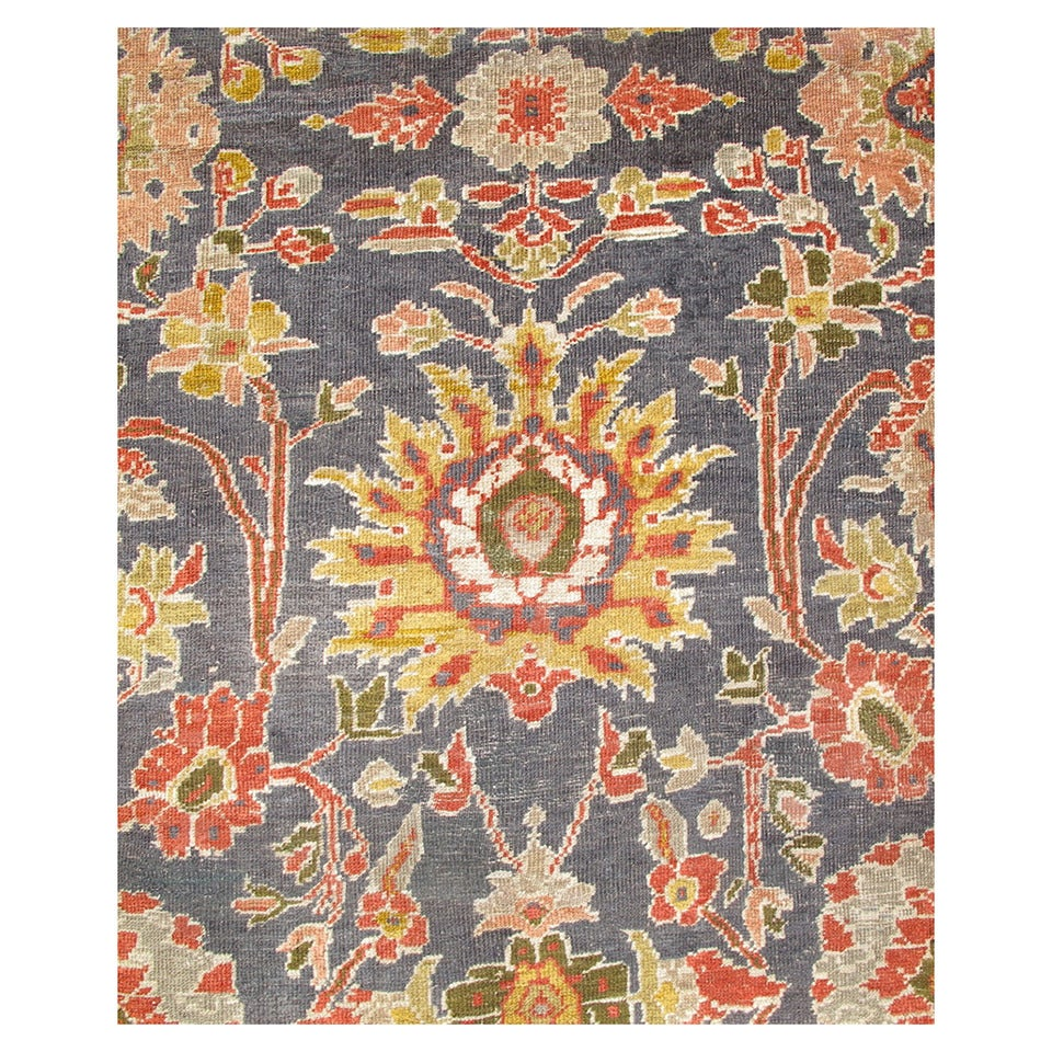 Late 19th Century Large Scale Sultanabad Carpet with Slate Blue Ground