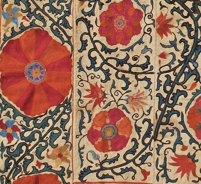 Uzbek Suzani Embroidered Textile For Sale