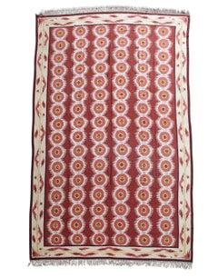 20th Century Red and White Swedish Kilim Carpet