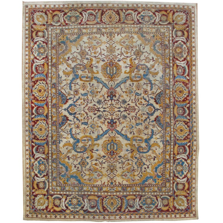 Late 19th Century Indian Ivory Amritsar Rug with Detailed