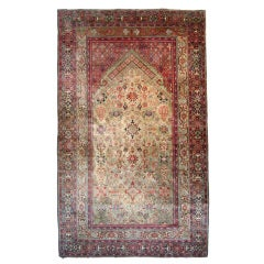 Antique Silk Fereghan Prayer Rug