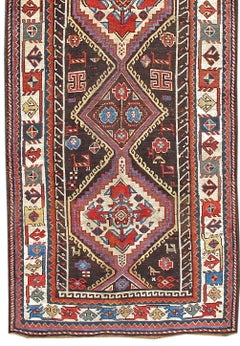 Late 19th Century Transcaucasian Runner Rug with Brown and Blue Field