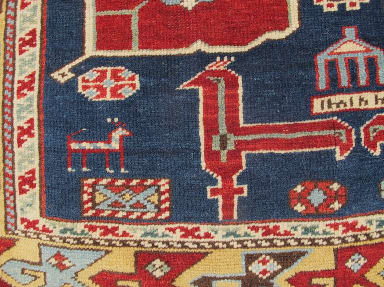 Late 19th Century Ruby-Red and Sea-Green Caucasian Karagashli Kuba Rug In Excellent Condition For Sale In Oakland, CA