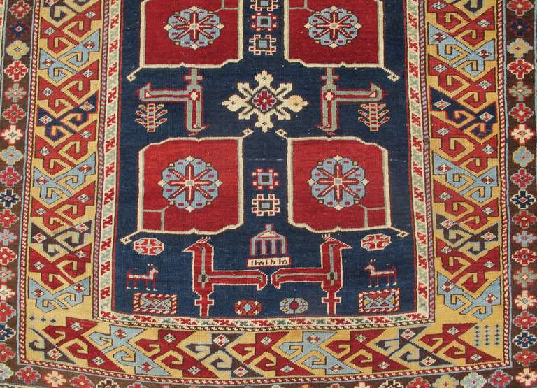 Wool Late 19th Century Ruby-Red and Sea-Green Caucasian Karagashli Kuba Rug For Sale