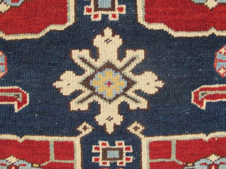 Late 19th Century Ruby-Red and Sea-Green Caucasian Karagashli Kuba Rug For Sale 2