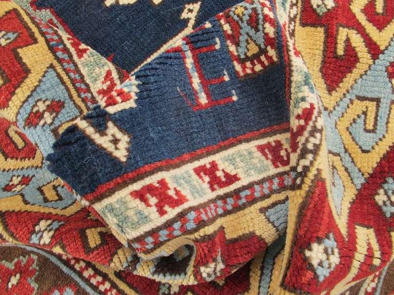 Late 19th Century Ruby-Red and Sea-Green Caucasian Karagashli Kuba Rug For Sale 3