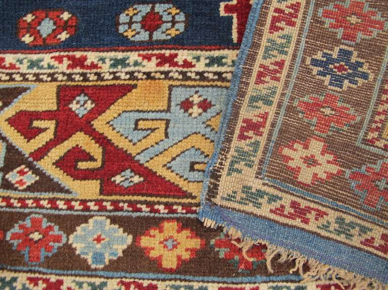Late 19th Century Ruby-Red and Sea-Green Caucasian Karagashli Kuba Rug For Sale 4