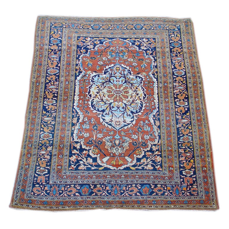 Persian Tabriz Rug With Classic Medallion With Sky Blues From 19th Century For Sale At 1stdibs