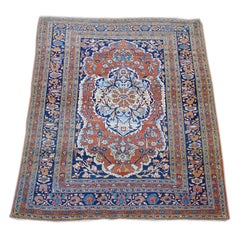 Persian Tabriz Rug  with sky blues from the late 19th Century