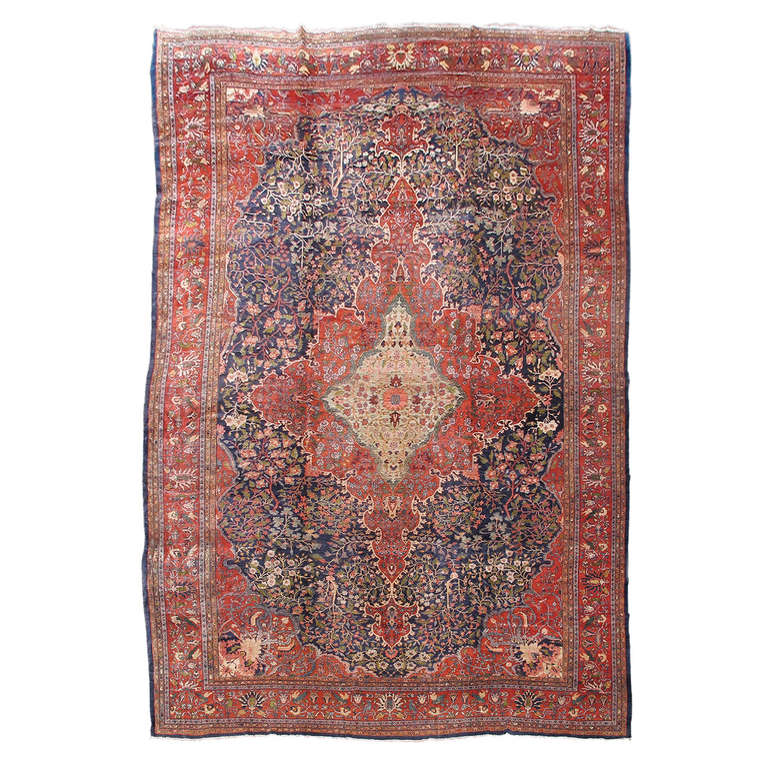 19th C Fereghan Sarouk Carpet With Classic Medallion And Garden Design At 1stdibs
