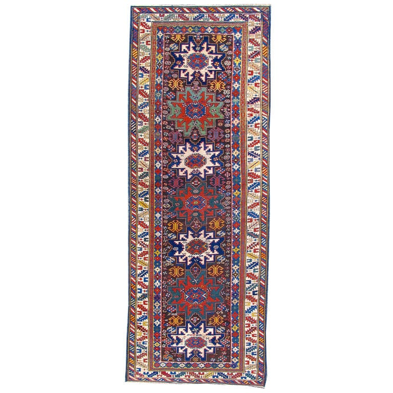 Late 19th Century Lesghi Star Caucasian Runner Rug With