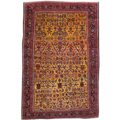 Early 20th Century Red and Tan Bakhtiari Carpet
