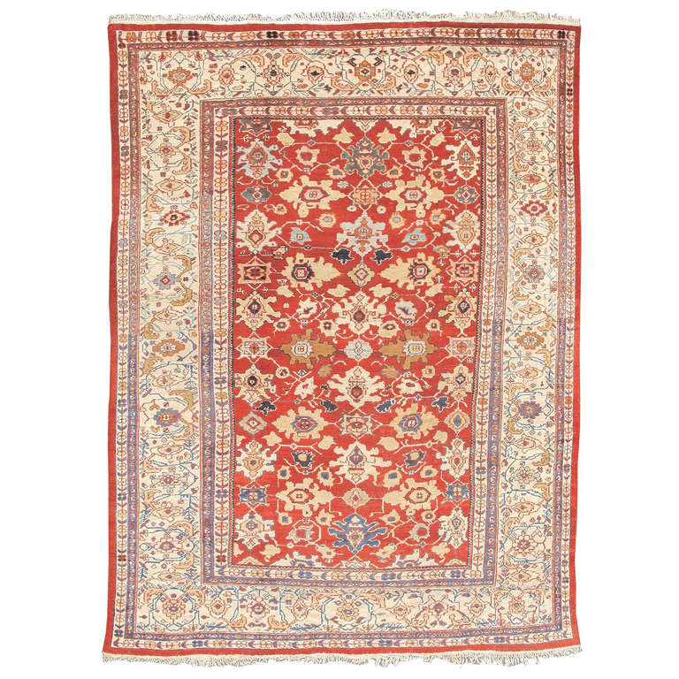 Late 19th Century Red Sultanabad Carpet with Linked Palmettes