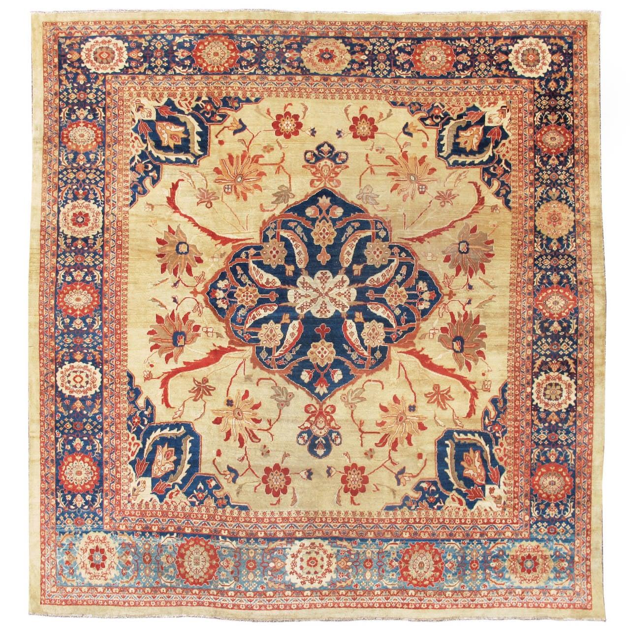 Late 19th Century Blue and Light Tan Ziegler Mahal Carpet