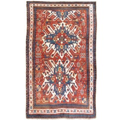 19th Century Red and Blue Eagle Karabagh Rug
