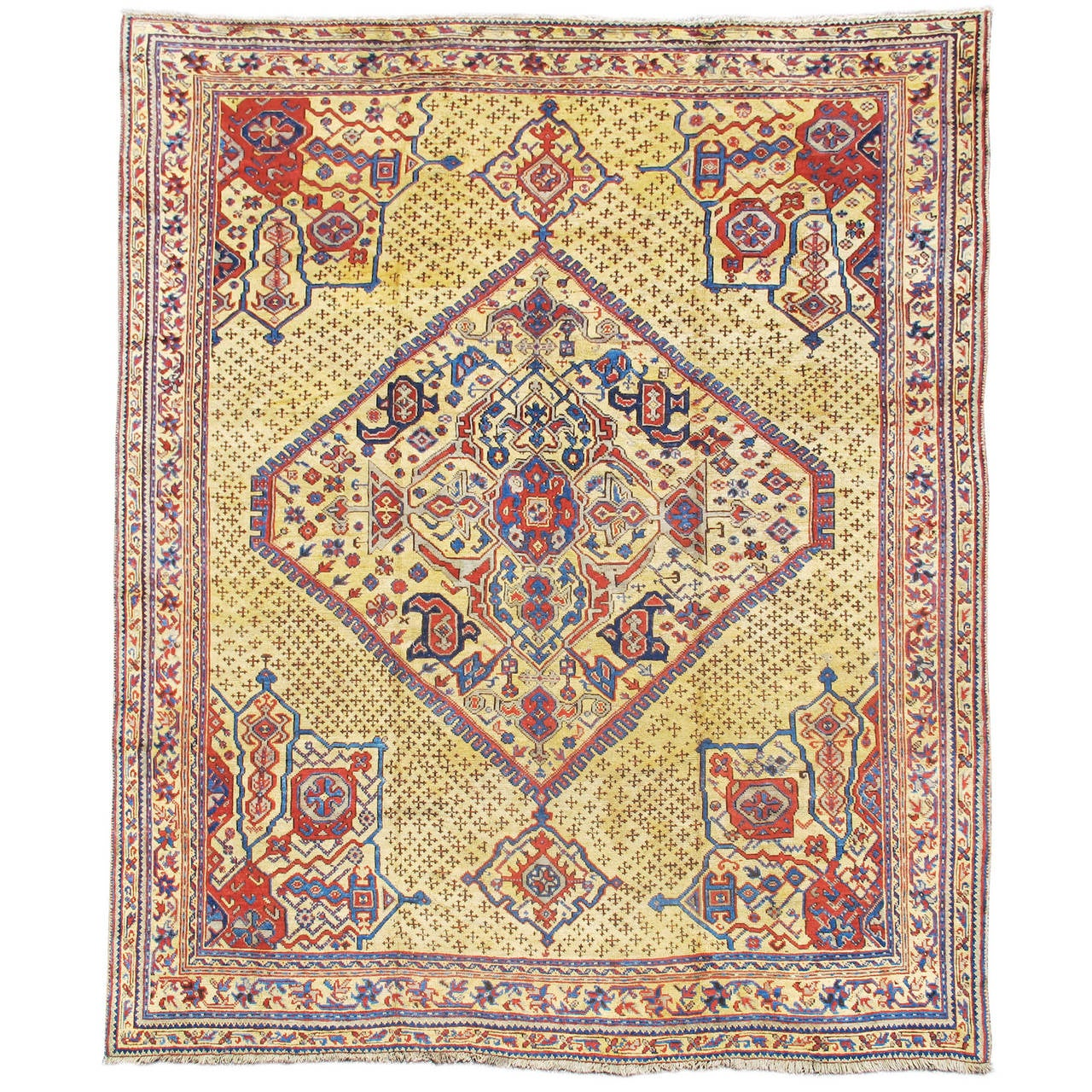 Early 19th Century Madder Red Turkish Oushak Carpet with Golden Ivory Field