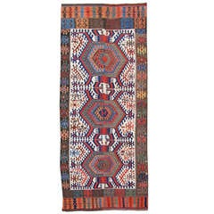 19th Century Turkish Kilim with Blue and Red Medallions