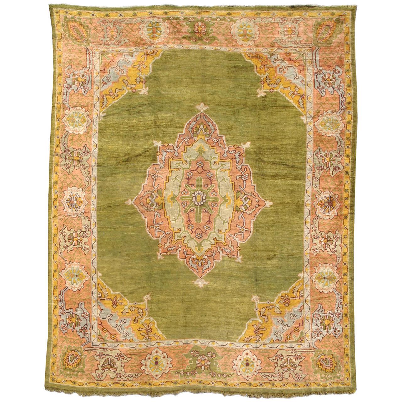 Classic Late 19th Century Oushak Carpet with Art Nouveau Flair