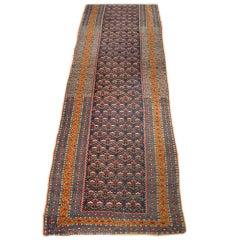 19th Century Multi-Colored Kurdish Runner Rug