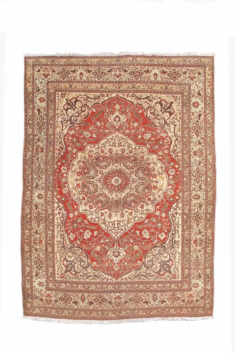Classic Medallion Tabriz Carpet At 1stdibs