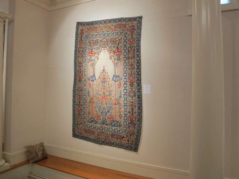 Bosnian 18th Century Ottoman Applique and Embroidered Textile with Blue and Red Tones For Sale