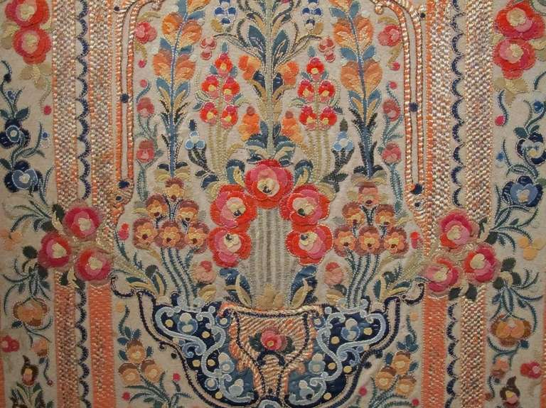 18th Century Ottoman Applique and Embroidered Textile with Blue and Red Tones In Excellent Condition For Sale In Oakland, CA