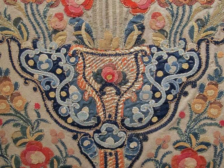 18th Century Ottoman Applique and Embroidered Textile with Blue and Red Tones For Sale 2