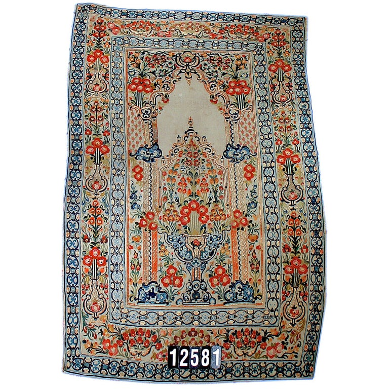18th Century Ottoman Applique and Embroidered Textile with Blue and Red Tones For Sale