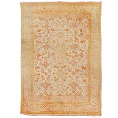 Early 20th Century Gold and Khaki Oushak Carpet