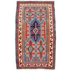 Late 19th Century Red and Blue Kuba Caucasian Kilim Rug
