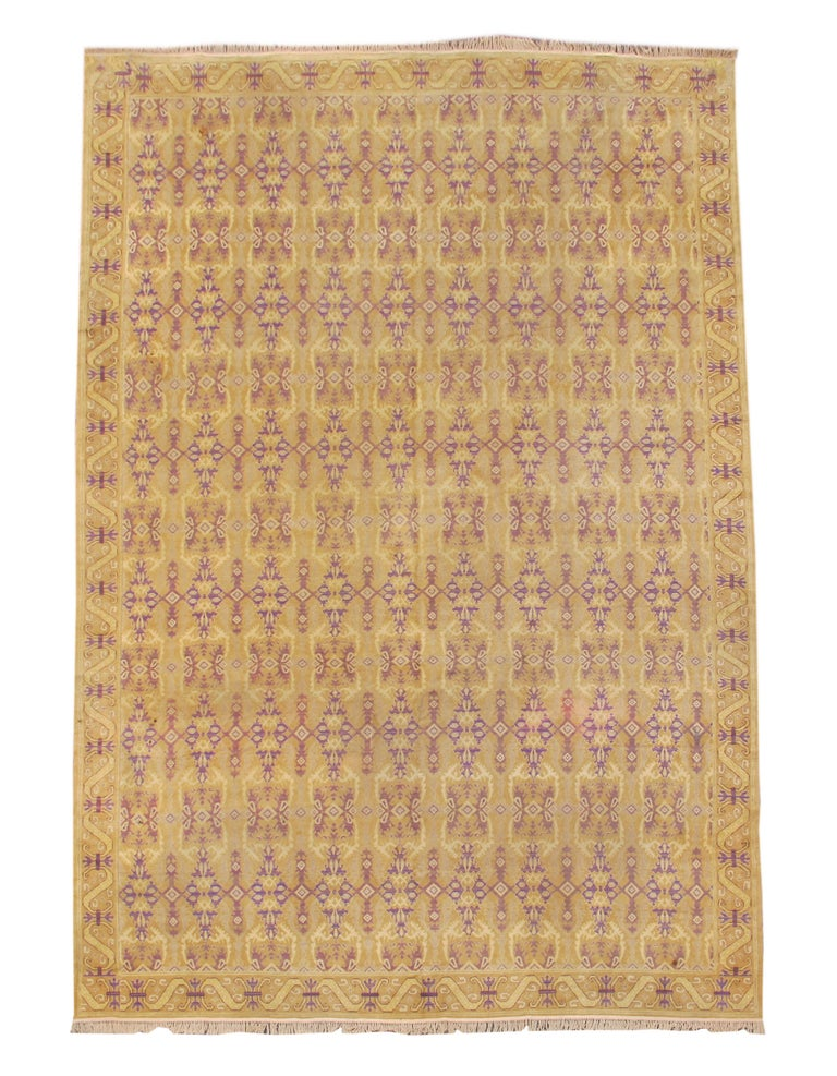 Early 20th Century Gold Colored Spanish Carpet with Voilet Patterns For Sale