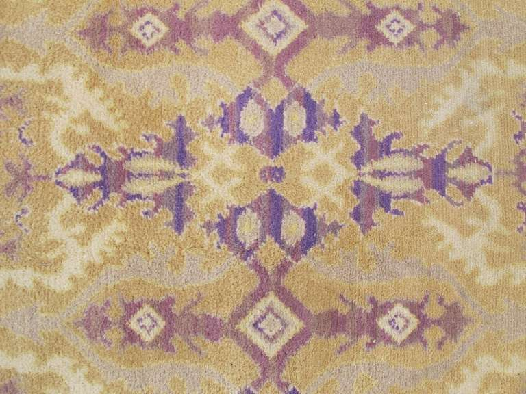 Early 20th Century Gold Colored Spanish Carpet with Voilet Patterns For Sale 4