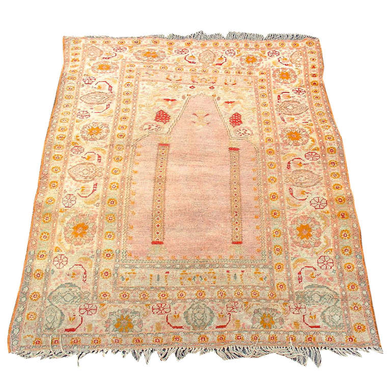 Prayer Rug Types: Elegant And Soft Oushak Prayer Scatter Rug For Sale At 1stdibs