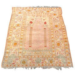 Elegant and Soft Oushak Prayer Scatter Rug