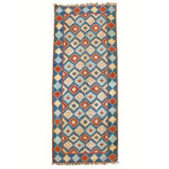 Early 20th Century Indigo Blue Dhurrie Rug