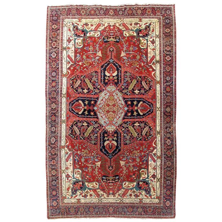 19th Century Red and Indigo Serapi Carpet