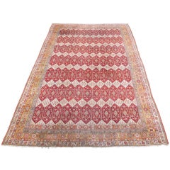 Late 19th Century Red and White Indian Agra Carpet with Diamond Pattern