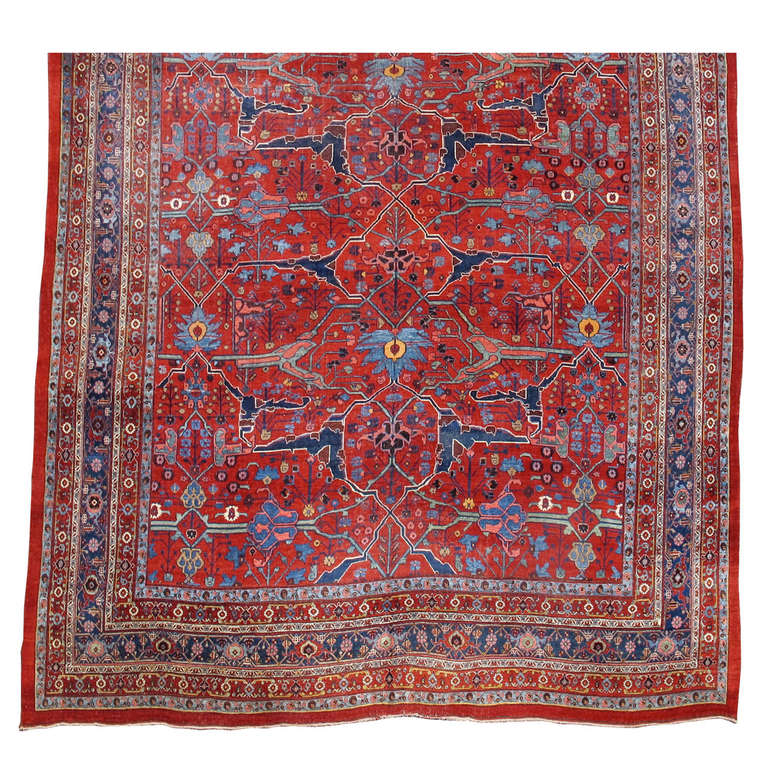 Late 19th Century Room Sized Red Bidjar Carpet 1