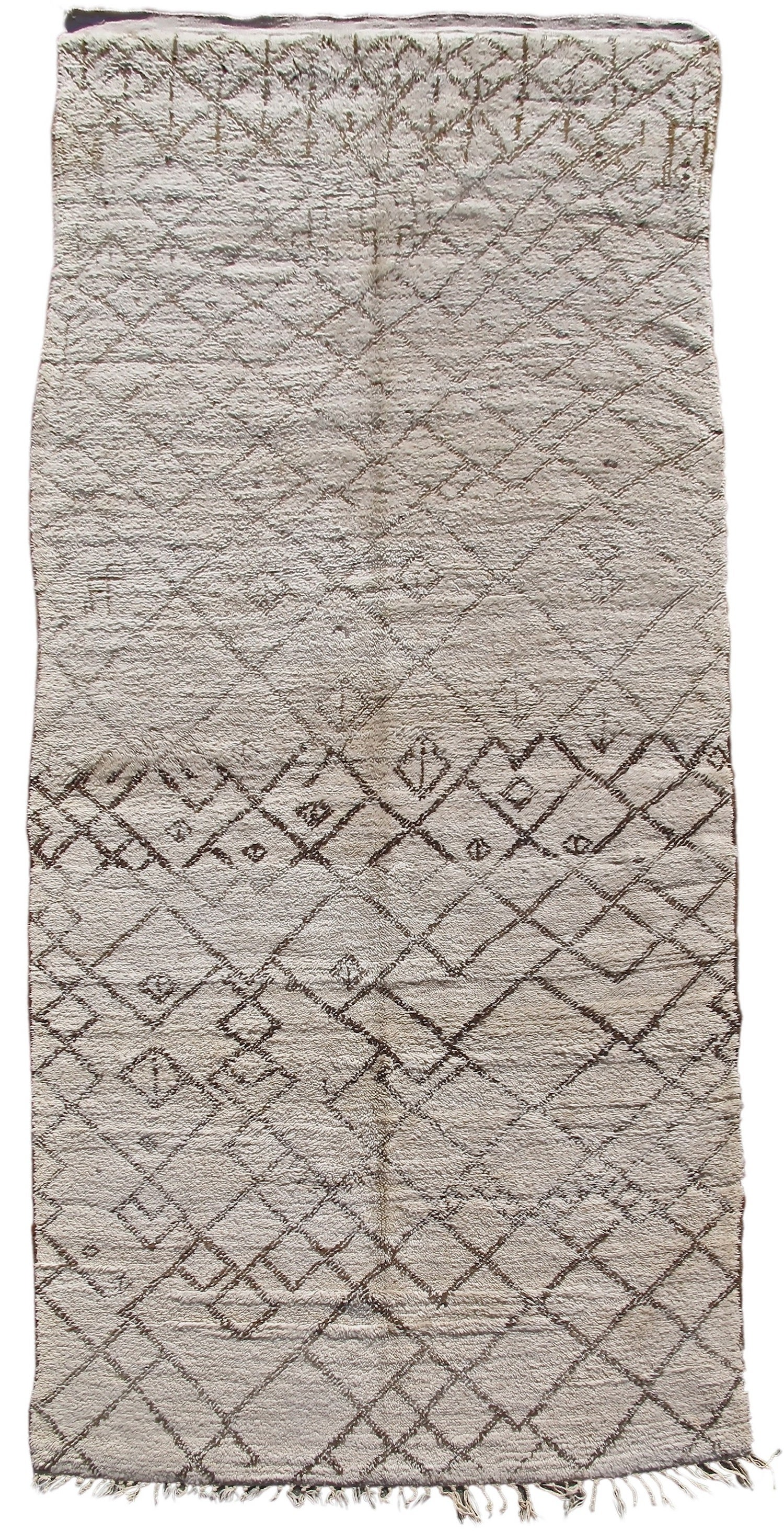 Mid 20th Century Neutral Beni Ouarain Long Rug