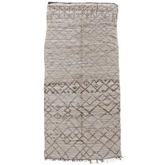 Mid 20th Century Monochrome Beni Ouarain Long Rug