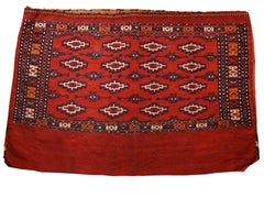 Early 20th Century Red Yomut Embroidered Chuval Tent Bag with White Highlights