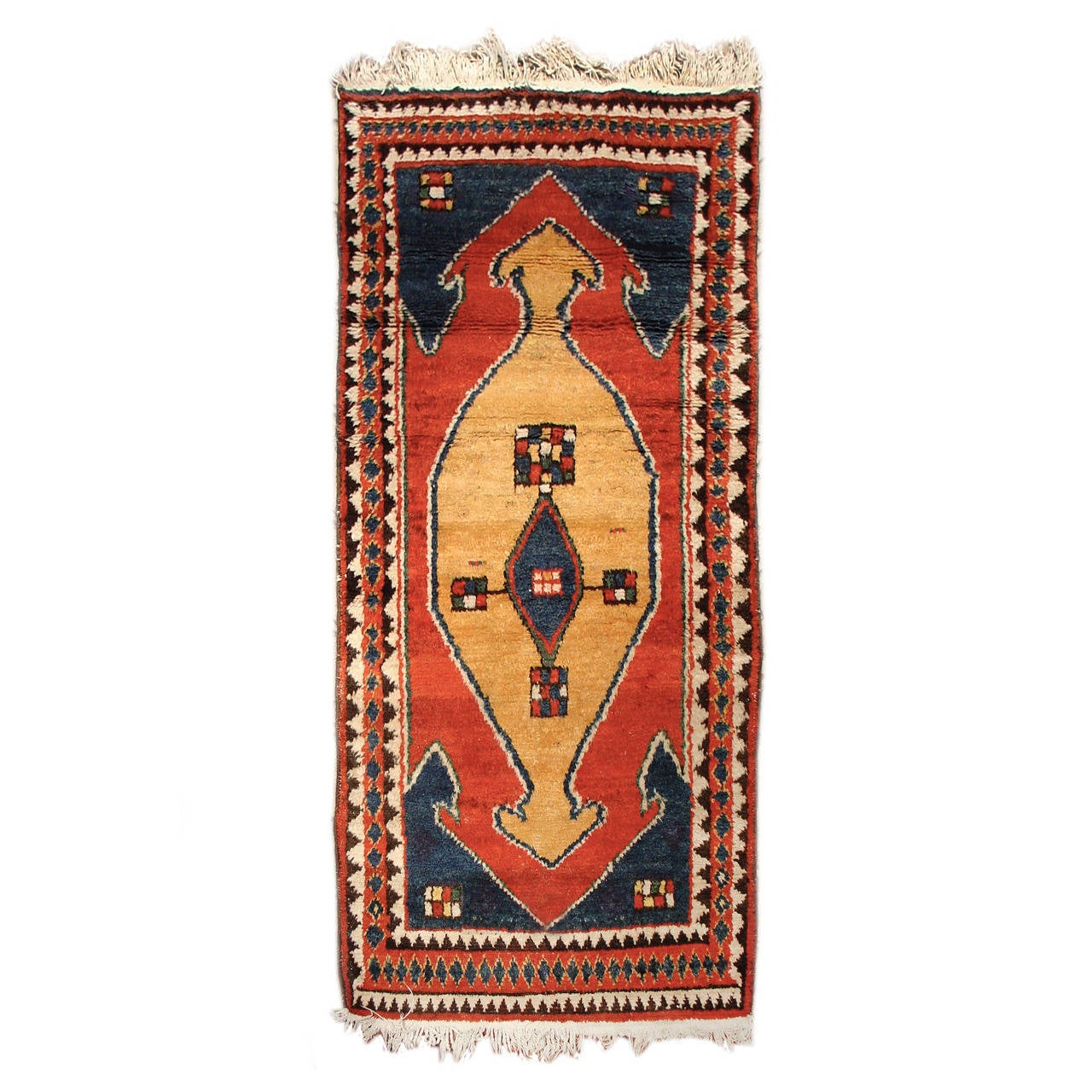 Early 20th Century Red and Tan Vintage Bakhtiari Gabbeh Persian Rug